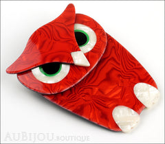 Lea Stein Buba The Owl Bird Brooch Pin Red Pearly White Side