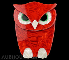 Lea Stein Buba The Owl Bird Brooch Pin Red Pearly White