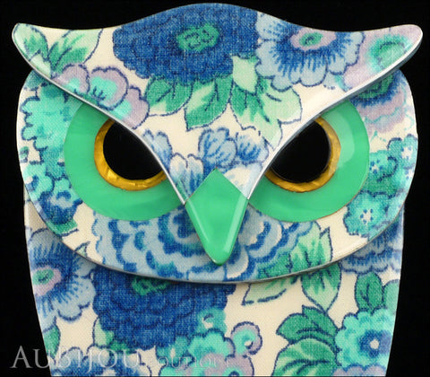Lea Stein Buba The Owl Brooch Pin Blue Turquoise Floral Gallery