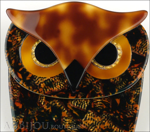 Lea Stein Buba The Owl Brooch Pin Forest Mosaic Tortoise Gallery