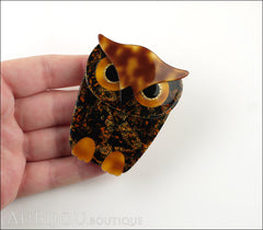Lea Stein Buba The Owl Brooch Pin Forest Mosaic Tortoise Model