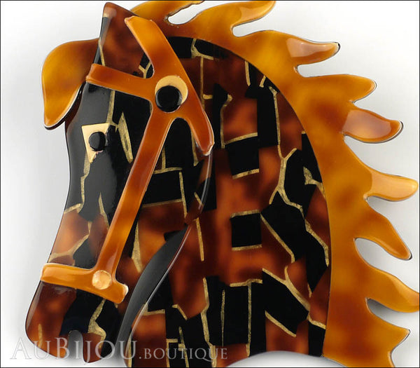 Lea Stein Butter The Horse Head Brooch Pin Black Tortoise Mosaic Caramel Gallery