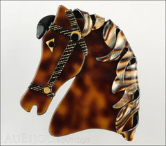 Lea Stein Butter The Horse Head Brooch Pin Caramel Abalone Front