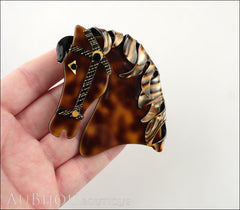 Lea Stein Butter The Horse Head Brooch Pin Caramel Abalone Model