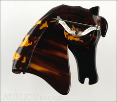 Lea Stein Butter The Horse Head Brooch Pin Caramel Dark Tortoise Back