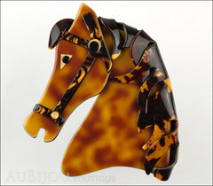 Lea Stein Butter The Horse Head Brooch Pin Caramel Dark Tortoise Front