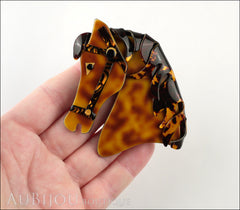 Lea Stein Butter The Horse Head Brooch Pin Caramel Dark Tortoise Model