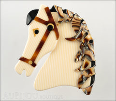Lea Stein Butter The Horse Head Brooch Pin Cream Pinstripes Abalone Front