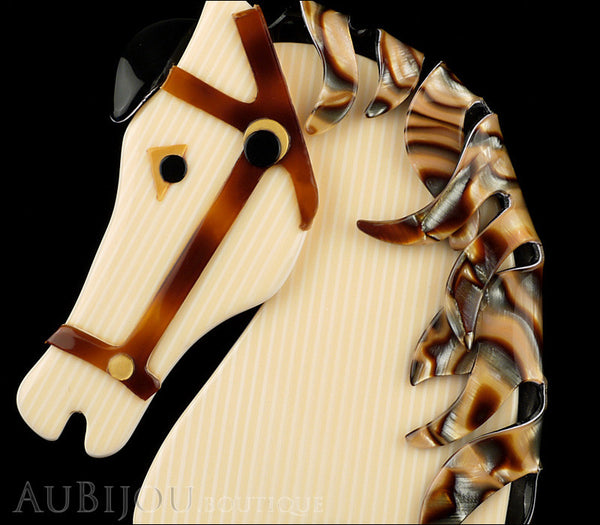 Lea Stein Butter The Horse Head Brooch Pin Cream Pinstripes Abalone Gallery