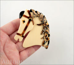 Lea Stein Butter The Horse Head Brooch Pin Cream Pinstripes Abalone Model