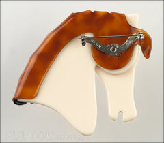 Lea Stein Butter The Horse Head Brooch Pin Cream Pinstripes Caramel Back