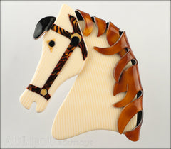 Lea Stein Butter The Horse Head Brooch Pin Cream Pinstripes Caramel Front