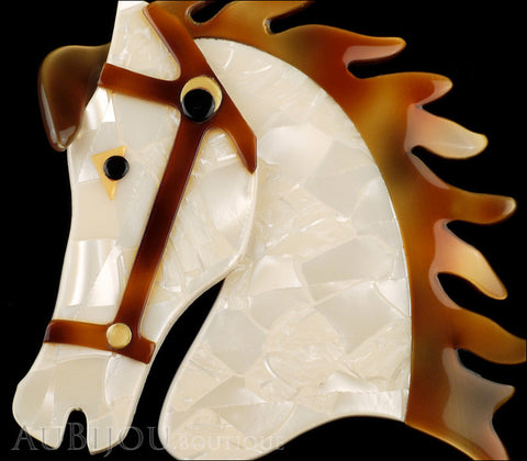 Lea Stein Butter The Horse Head Brooch Pin Pearly Cream Copper Gallery