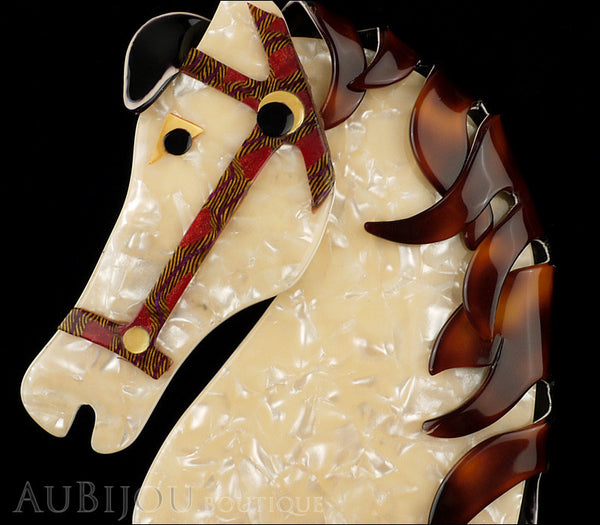 Lea Stein Butter The Horse Head Brooch Pin Pearly Cream Tortoise Gallery