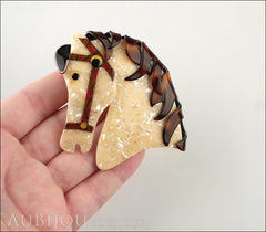 Lea Stein Butter The Horse Head Brooch Pin Pearly Cream Tortoise Model