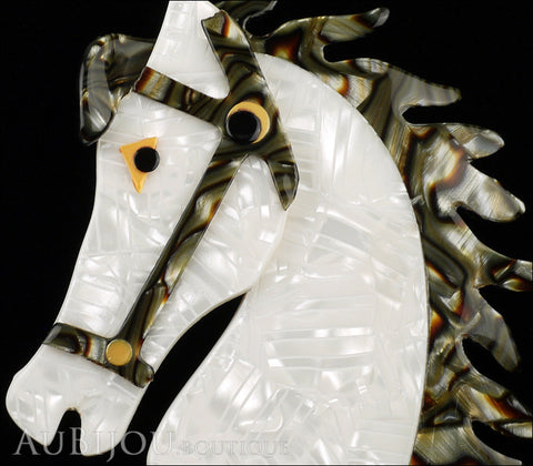 Lea Stein Butter The Horse Head Brooch Pin Pearly White Grey Gallery