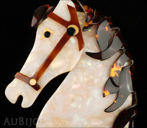 Lea Stein Butter The Horse Head Brooch Pin Pearly White Tortoise Gallery