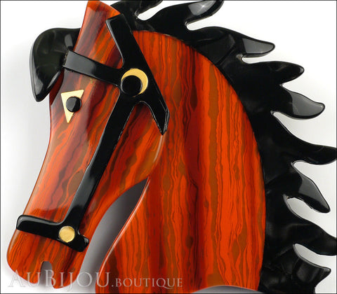Lea Stein Butter The Horse Head Brooch Pin Rusty Orange Black Gallery