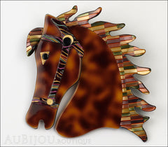 Lea Stein Butter The Horse Head Brooch Pin Tortoise Multicolor Mosaic Front