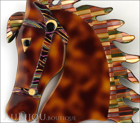 Lea Stein Butter The Horse Head Brooch Pin Tortoise Multicolor Mosaic Gallery