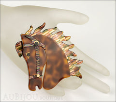 Lea Stein Butter The Horse Head Brooch Pin Tortoise Multicolor Mosaic Mannequin