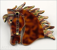 Lea Stein Butter The Horse Head Brooch Pin Tortoise Multicolor Mosaic Side