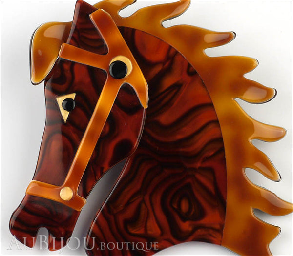 Lea Stein Butter The Horse Head Brooch Pin Tortoise Swirls Caramel Gallery