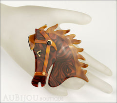 Lea Stein Butter The Horse Head Brooch Pin Tortoise Swirls Caramel Mannequin