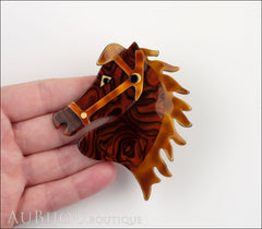 Lea Stein Butter The Horse Head Brooch Pin Tortoise Swirls Caramel Model