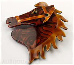 Lea Stein Butter The Horse Head Brooch Pin Tortoise Swirls Caramel Side