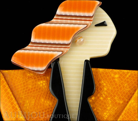 Lea Stein Carmen Joan Crawford Art Deco Brooch Pin Orange Black Gallery