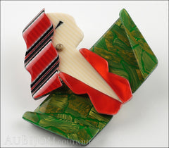 Lea Stein Carmen Joan Crawford Art Deco Brooch Pin Red Green Side