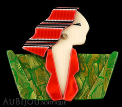 Lea Stein Carmen Joan Crawford Art Deco Brooch Pin Red Green