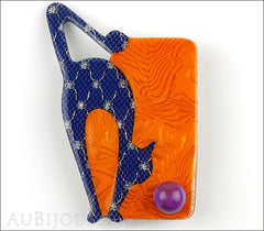 Lea Stein Cat With Ball Art Deco Brooch Pin Blue Orange Black Front