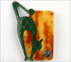 Lea Stein Cat With Ball Art Deco Brooch Pin Green Tortoise Front