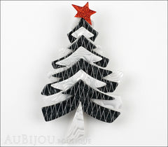 Lea Stein Christmas Tree Brooch Pin Black White Front
