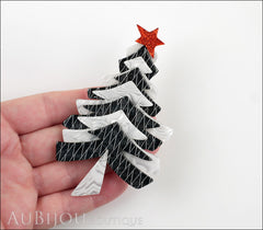 Lea Stein Christmas Tree Brooch Pin Black White Model