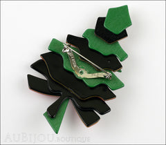 Lea Stein Christmas Tree Brooch Pin  Green Red Back