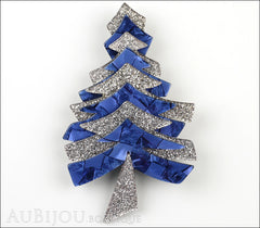 Lea Stein Christmas Tree Brooch Pin Silver Blue Front