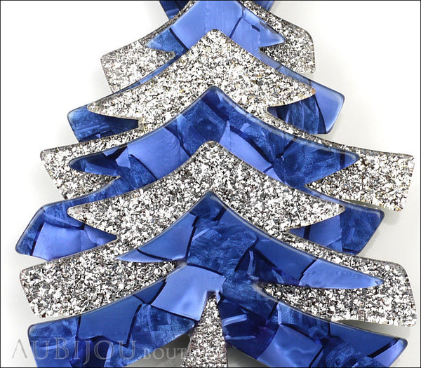 Lea Stein Christmas Tree Brooch Pin Silver Blue Gallery