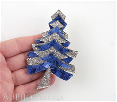 Lea Stein Christmas Tree Brooch Pin Silver Blue Model