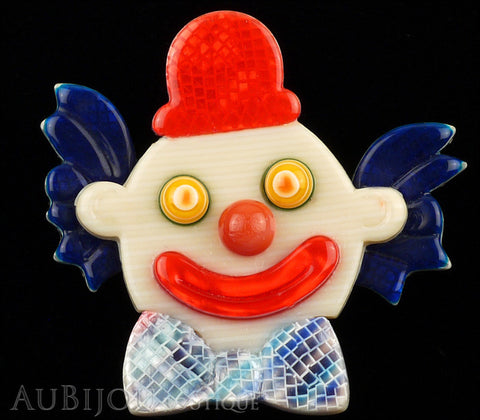 Lea Stein Clown Brooch Pin Blue Red Purple Gallery