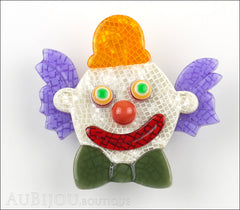 Lea Stein Clown Brooch Pin Purple Orange Green Front