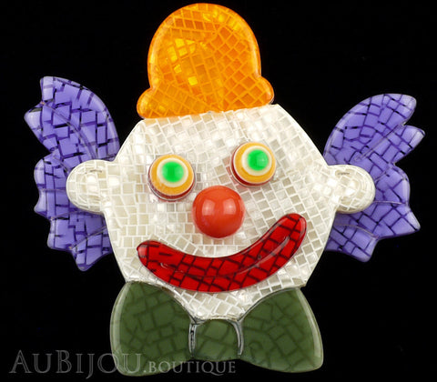 Lea Stein Clown Brooch Pin Purple Orange Green Gallery