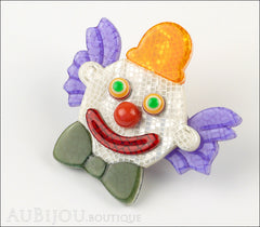 Lea Stein Clown Brooch Pin Purple Orange Green Side