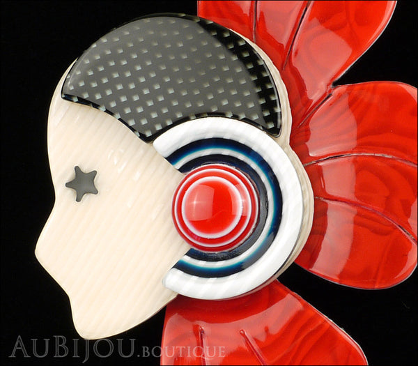 Lea Stein Corolle Art Deco Girl Petal Brooch Pin Pearly Red Black Gallery