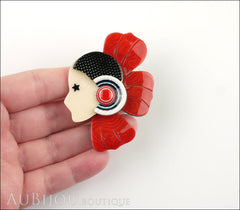 Lea Stein Corolle Art Deco Girl Petal Brooch Pin Pearly Red Black Model