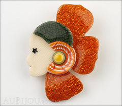 Lea Stein Corolle Art Deco Girl Petal Brooch Pin Sparkly Orange Green Front