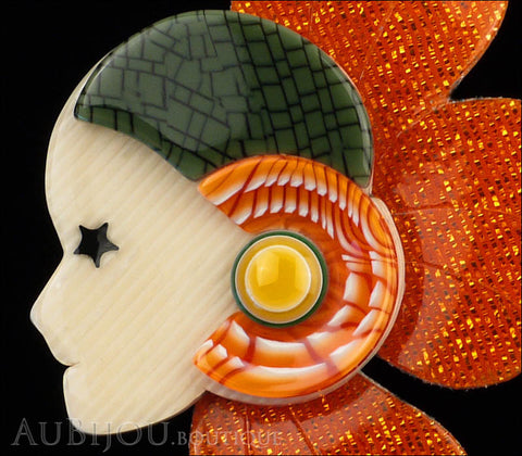 Lea Stein Corolle Art Deco Girl Petal Brooch Pin Sparkly Orange Green Gallery