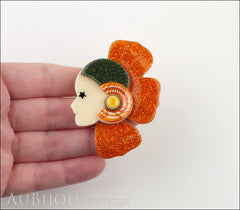 Lea Stein Corolle Art Deco Girl Petal Brooch Pin Sparkly Orange Green Model